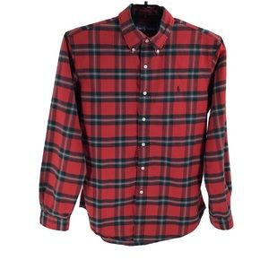 Ralph Lauren Mens Custom Fit Red Plaid Shirt Large